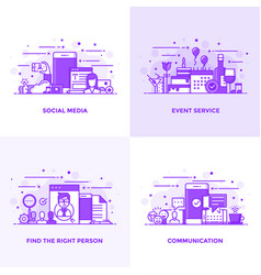 Flat line purple designed concepts 15 vector