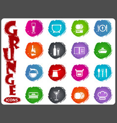 Food and kitchen icons set in grunge style vector
