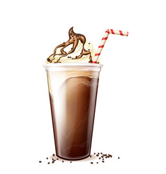 Frappe coffee frappucino in disposable plastic cup vector