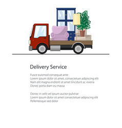 Freight car is transporting furniture poster vector