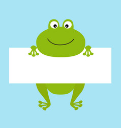 Funny frog hanging on paper board template big vector