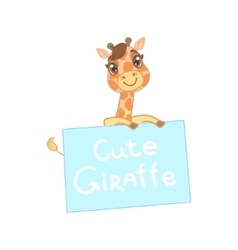 Giraffe behind a paper banner vector