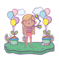 girl playing maracas with balloons helium in the vector image