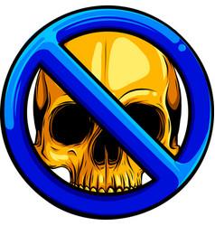 gold human skull with symbol ban vector image