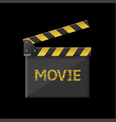 Golden movie clapper board with play sign vector