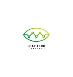 Green leaf technology logo design vector