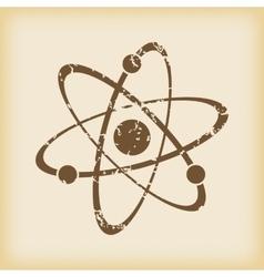 Grungy atom icon vector