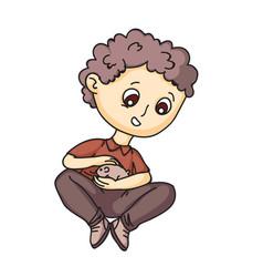 Happy little preschooler boy playing with hamster vector