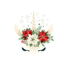 Head of unicorn with floral wreath vector