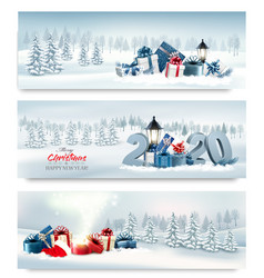 holiday christmas banners with winter landscape vector image