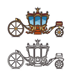 Horse carriage or vintage chariot for marriage vector