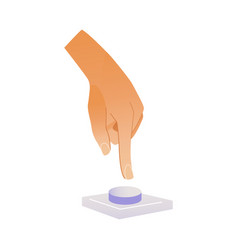 Human hand pressing button with index finger vector