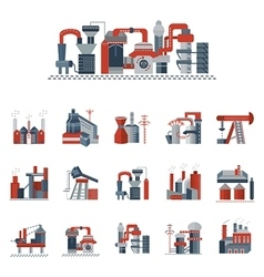 Industrial factories flat color icons vector