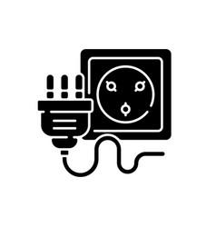 Industrial wall socket black glyph icon vector