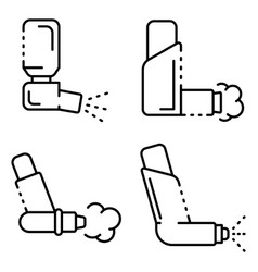 inhaler icons set outline style vector image