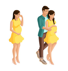 isometry of a pregnant girl with a beloved man vector image