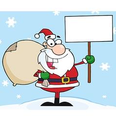 Jolly Christmas Santa Holding A Blank Sign vector image
