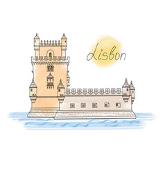Lisbon tower landmark visit portugal card travel vector