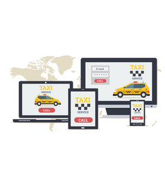 Long flat banner - online taxi service on devices vector