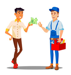 manager paying money to repairman for the work vector image