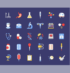 Medicine accessories flat icons set health vector
