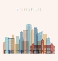 Minneapolis state minnesota skyline detailed silho vector