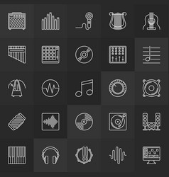 Music thin line icons set on dark vector