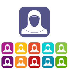 Muslim women wearing hijab icons set vector