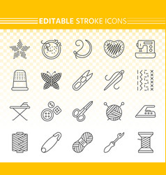 needlework simple black line icons set vector image