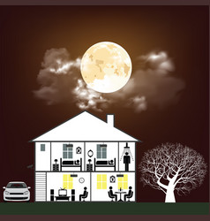 night time residential home vector image