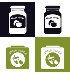 olives in jar and in can vector image