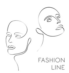 One line fashion female face vector