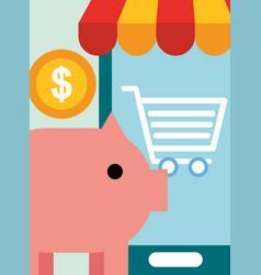 online shopping commerce vector image