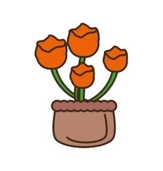 Orange flower on basket icon vector