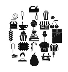 pastry cook icons set simple style vector image