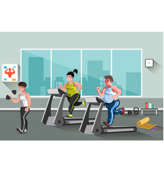 People go in for sports in the fitness club vector