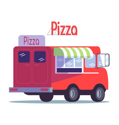 pizza food truck flat ready takeaway meal vector image