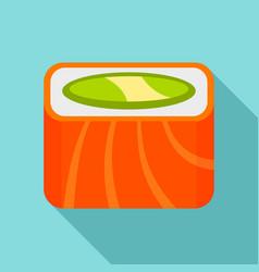 salmon rainbow sushi roll icon flat style vector image