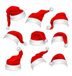 Santa claus red hats photo booth props christmas vector