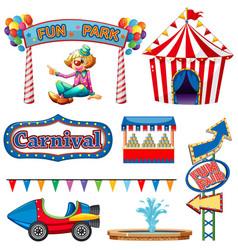 set circus items on white background vector image