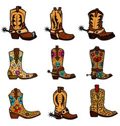 Set cowboy boots in vintage monochrome vector