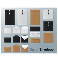 set of realistic envelope vector image