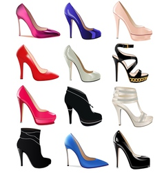 set of womens shoes with heels vector image