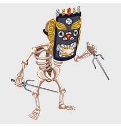 Skeleton in ancient mask with daggers vector