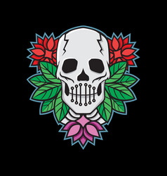 skeleton skull head logo vector image