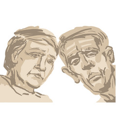 Sketch depicting two faces of old people in brown vector