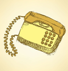 Sketch phone in vintage style vector image