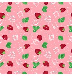 Strawberry mojito seamless pattern on pink vector
