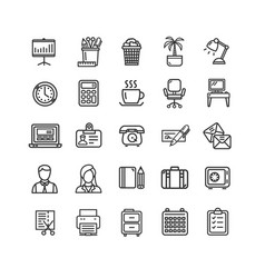 symbol office work black thin line icon set vector image
