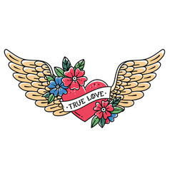 Tattoo flying heart with wings true love vector